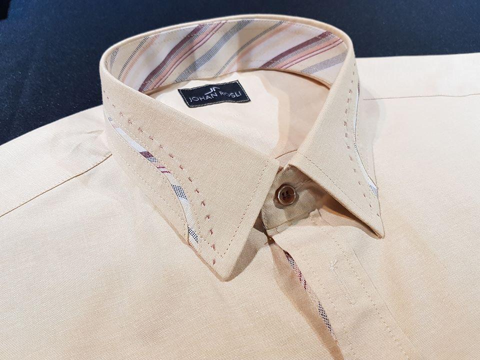 baju kemeja fancy ranggi hand stitching kain stripe
